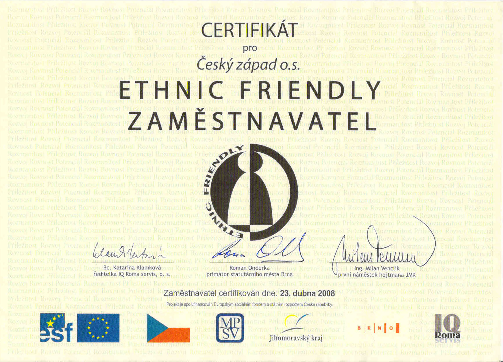 Ethnic_Friendly_certifikat